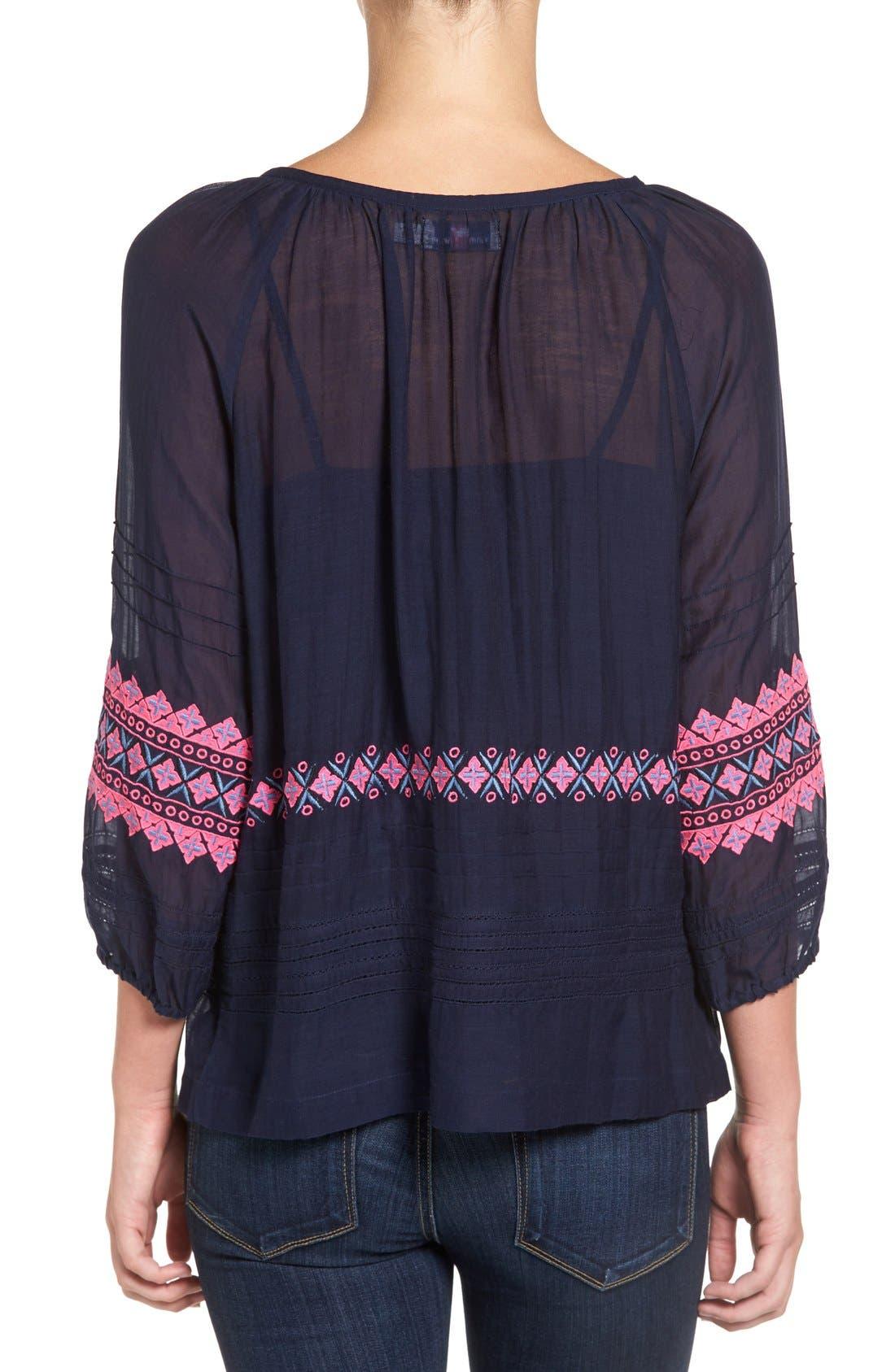 Alternate Image 2  - Vineyard Vines Embroidered Cotton & Silk Peasant Top