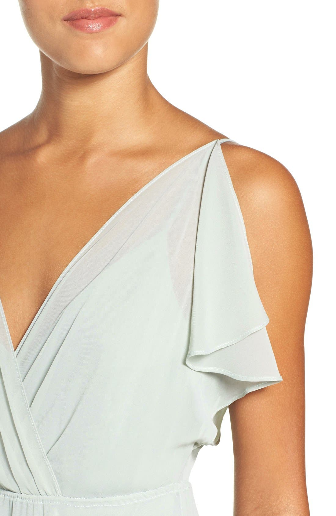 Alternate Image 4  - Jenny Yoo Cassie Flutter Sleeve Chiffon A-Line Gown