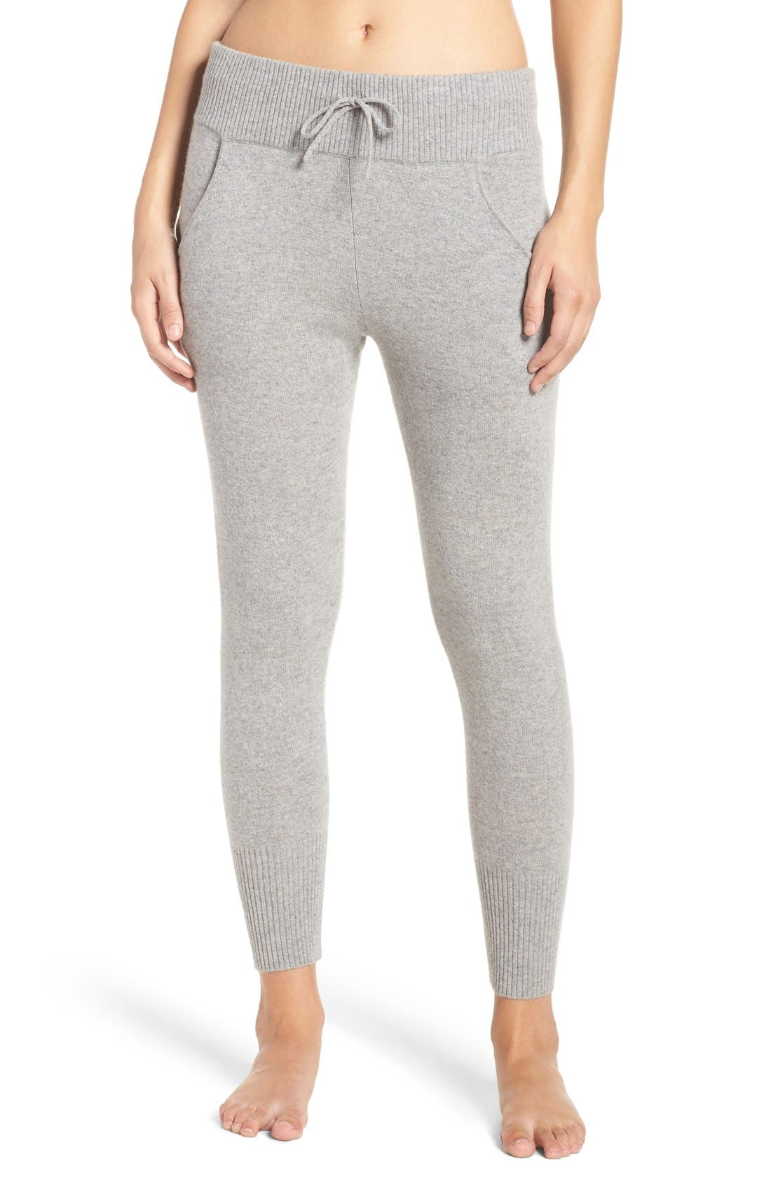 'Helen' Cashmere Jogger Pants,                         Main,                         color, Grey Heather