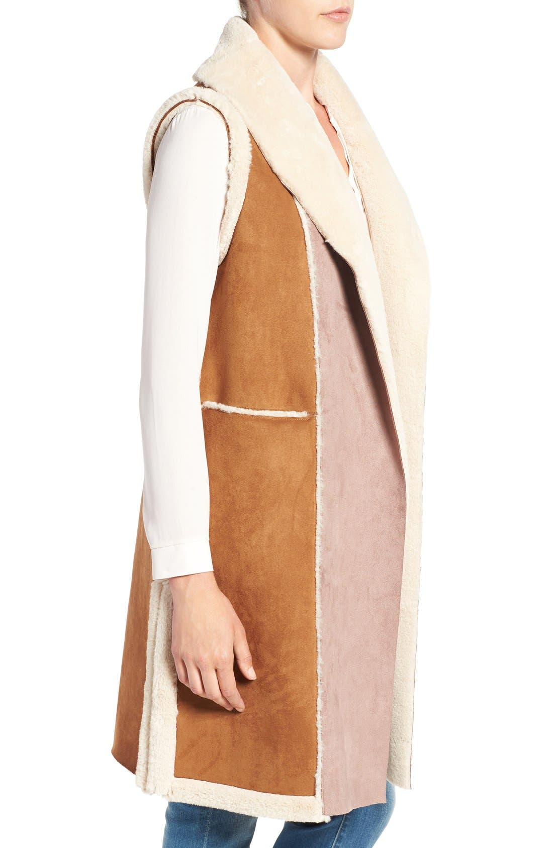 Alternate Image 3  - French Connection Long Faux Shearling Vest