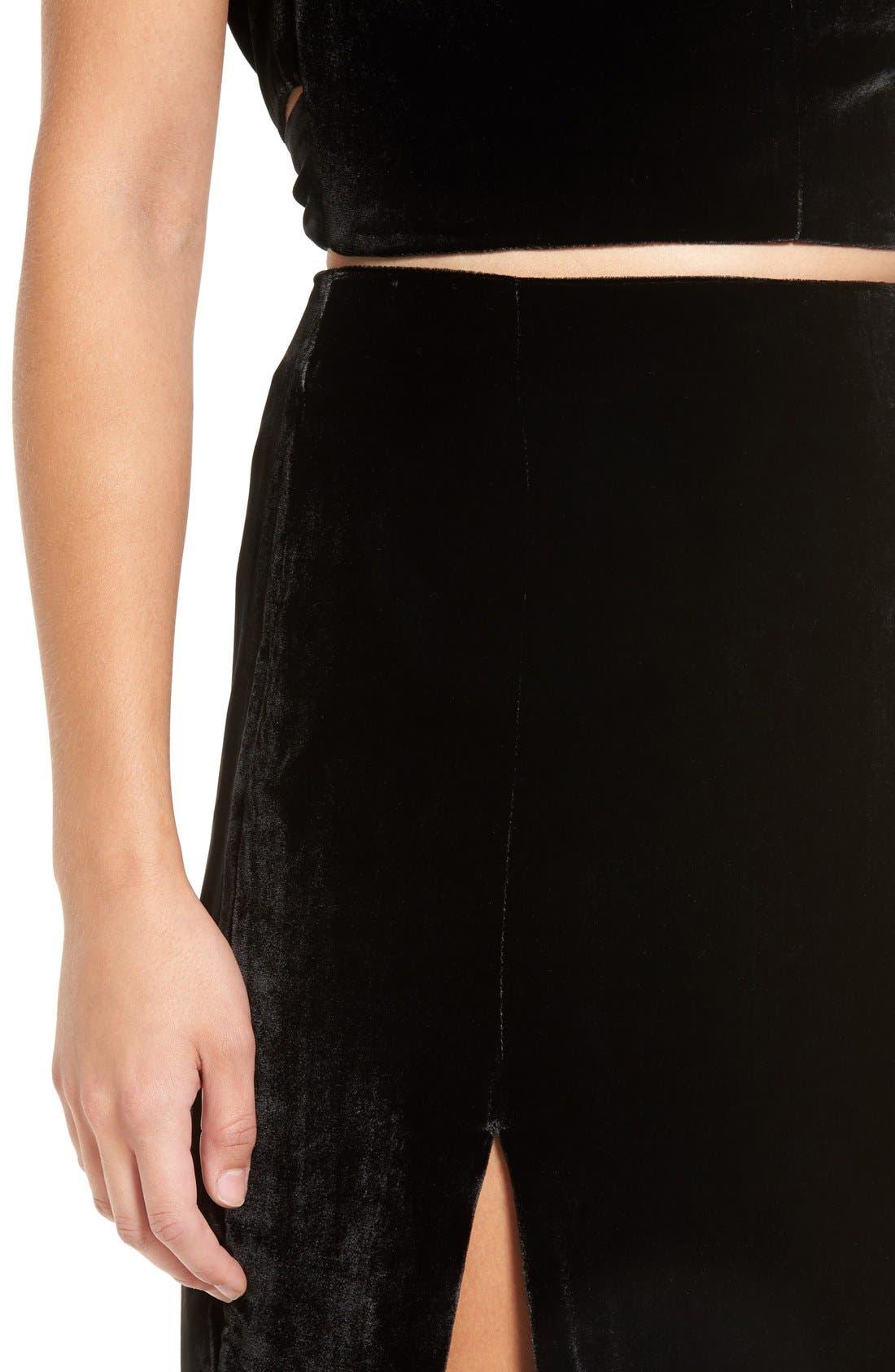 Alternate Image 4  - KENDALL + KYLIE Velvet Midi Skirt