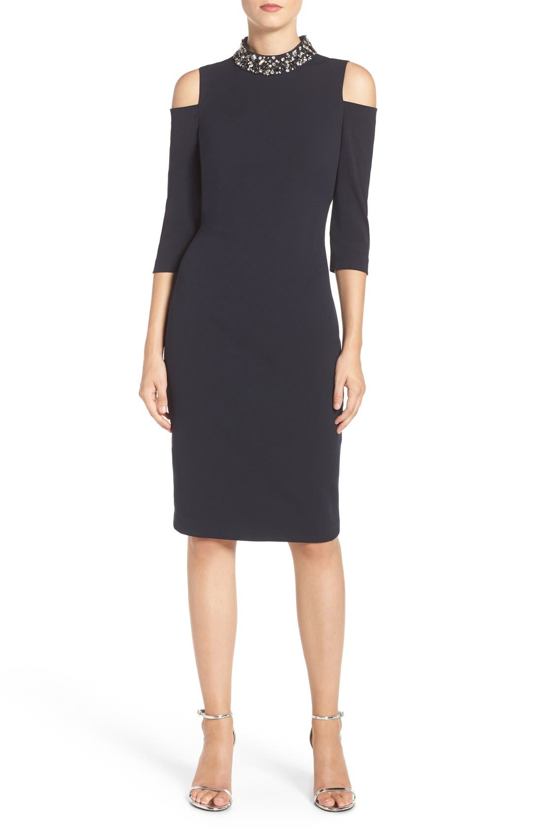 Main Image - Eliza J Embellished Stretch Sheath Dress (Regular & Petite)