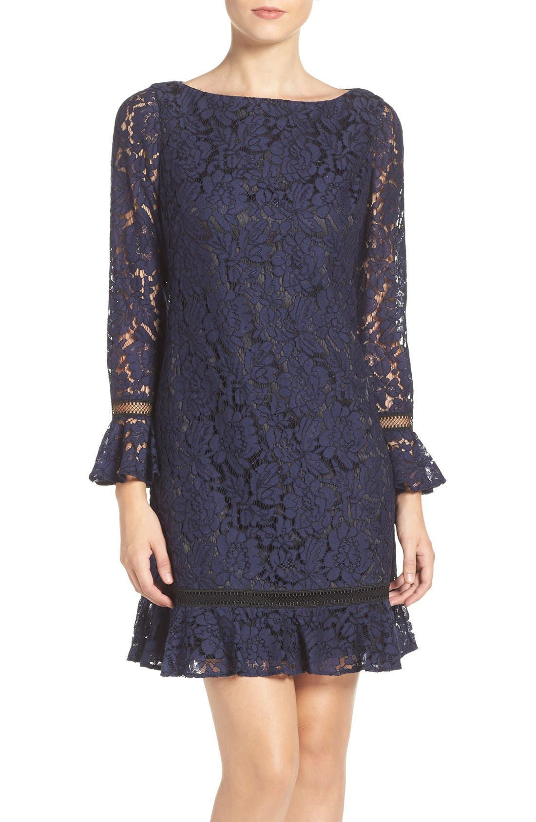Lace Shift Dress,                             Main thumbnail 1, color,                             Navy