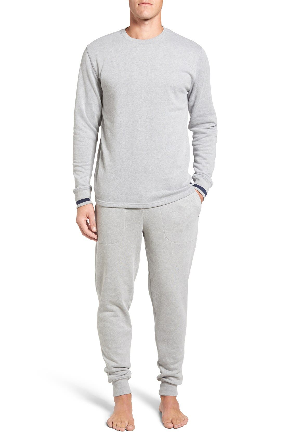 Brushed Jersey Cotton Blend Crewneck Sweatshirt,                             Alternate thumbnail 6, color,                             Andover Heather Grey