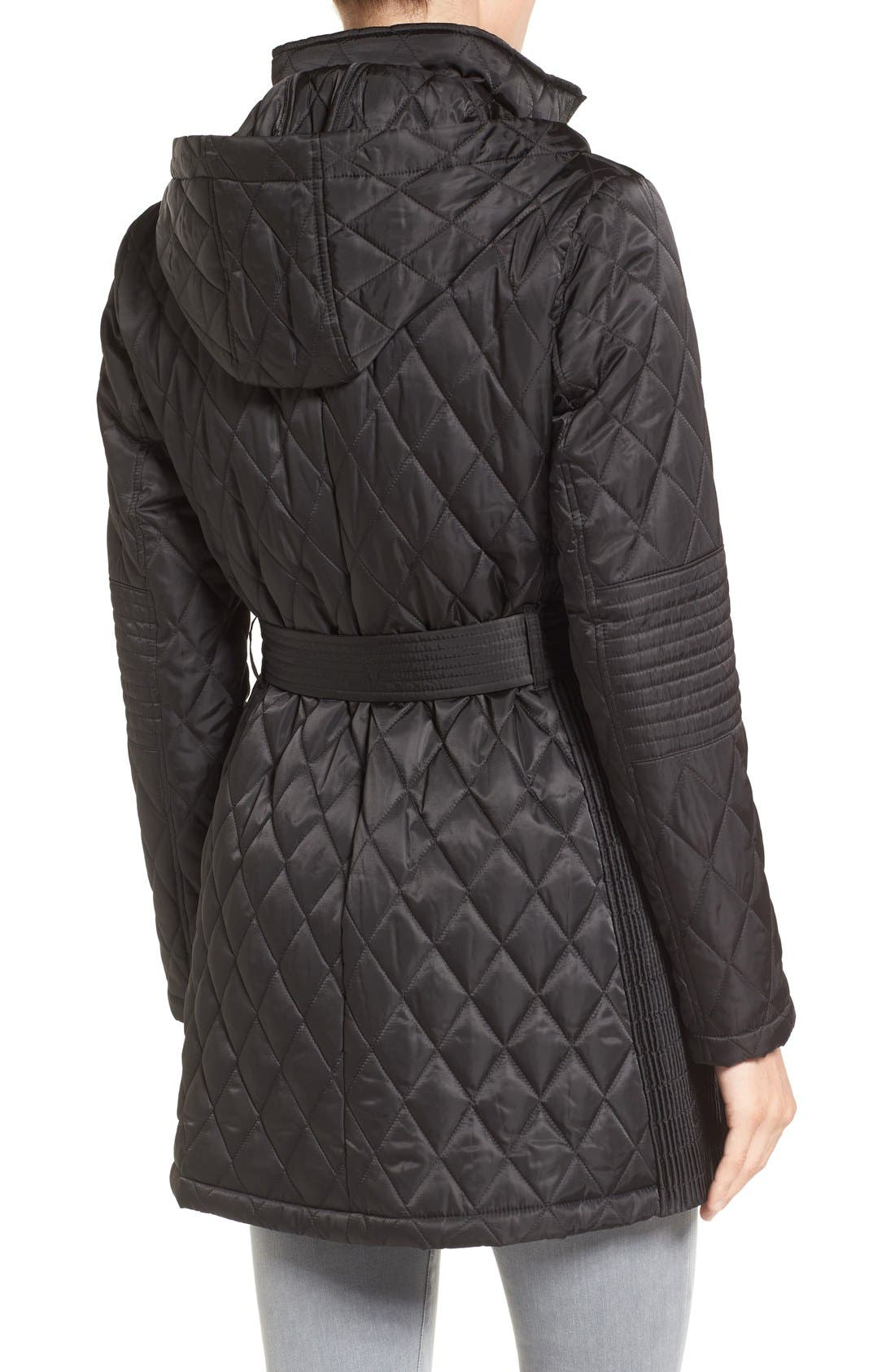 Belted Mixed Quilted Coat with Detachable Hood,                             Alternate thumbnail 2, color,                             Black