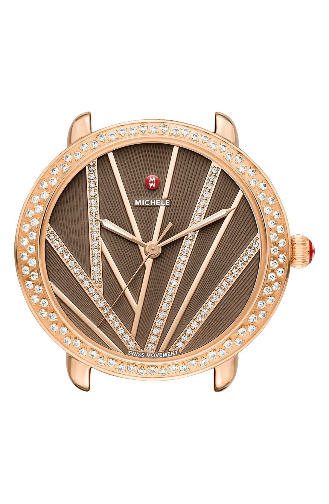 Serein Mid City Lights Diamond Diamond Dial Watch Case, 36mm,                             Main thumbnail 1, color,                             Rose Gold/ Cocoa