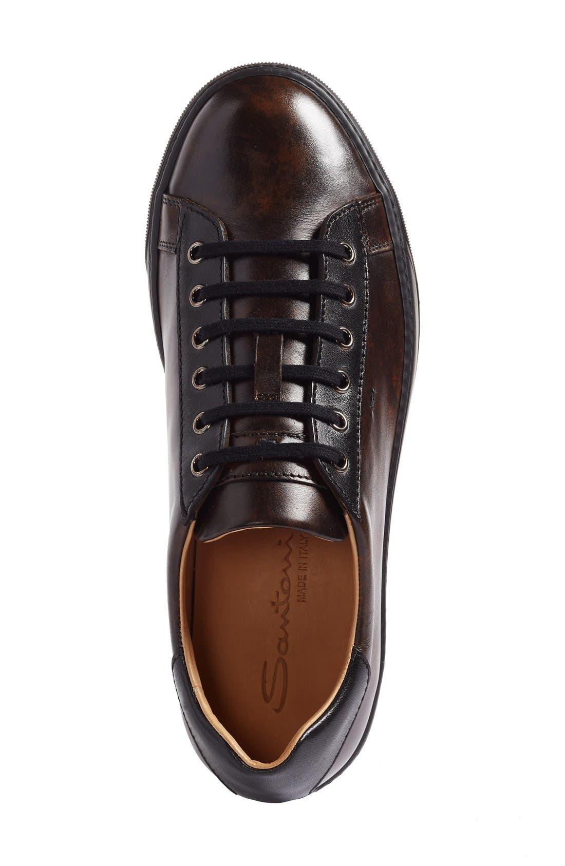 'Apache' Lace-Up Sneaker,                             Alternate thumbnail 3, color,                             Dark Brown Leather