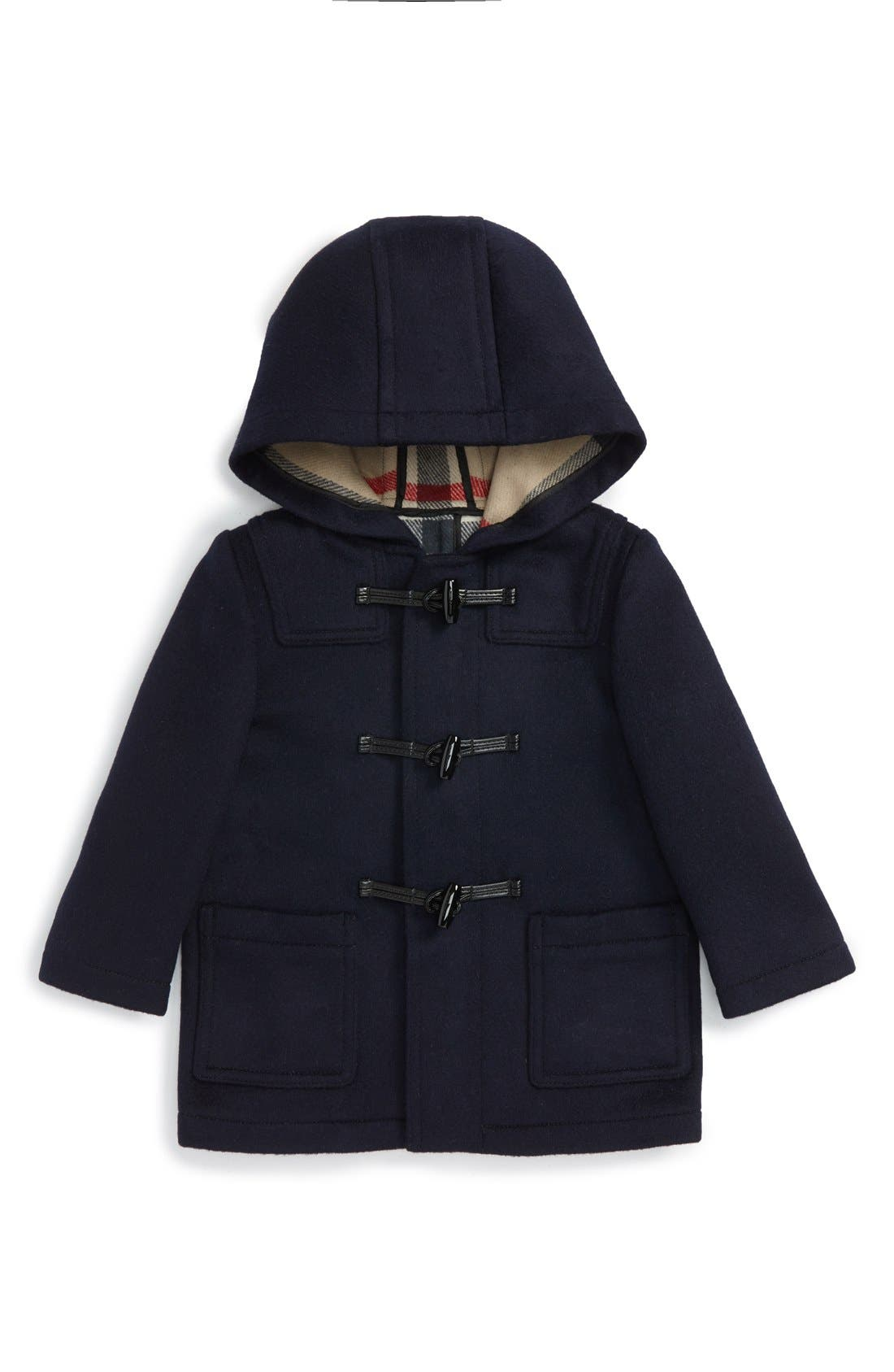 Main Image - Burberry 'Brogan' Hooded Wool Toggle Coat (Toddler Boys)