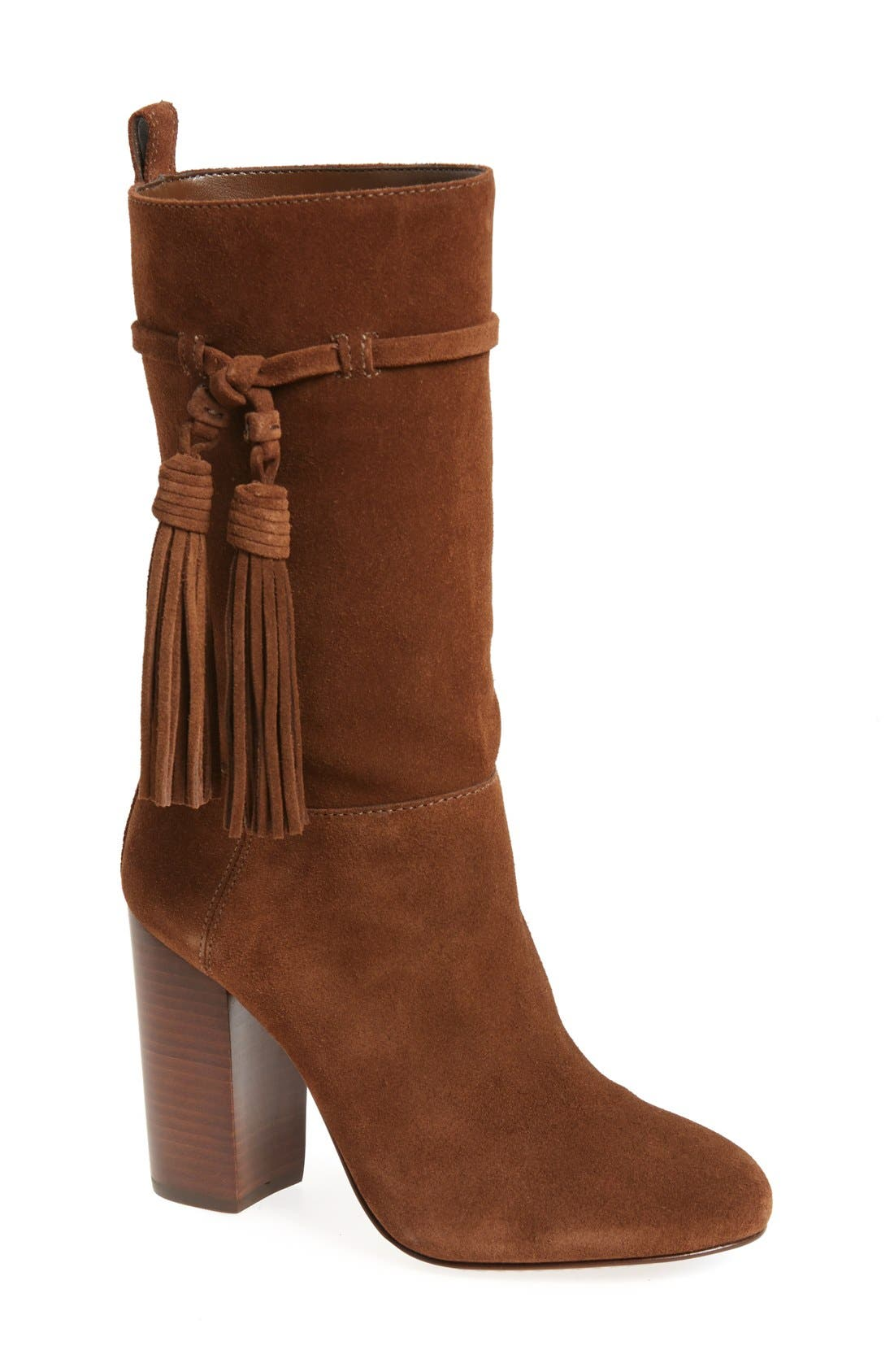 'Fermel' Slouch Tassel Boot,                         Main,                         color, Brown Suede