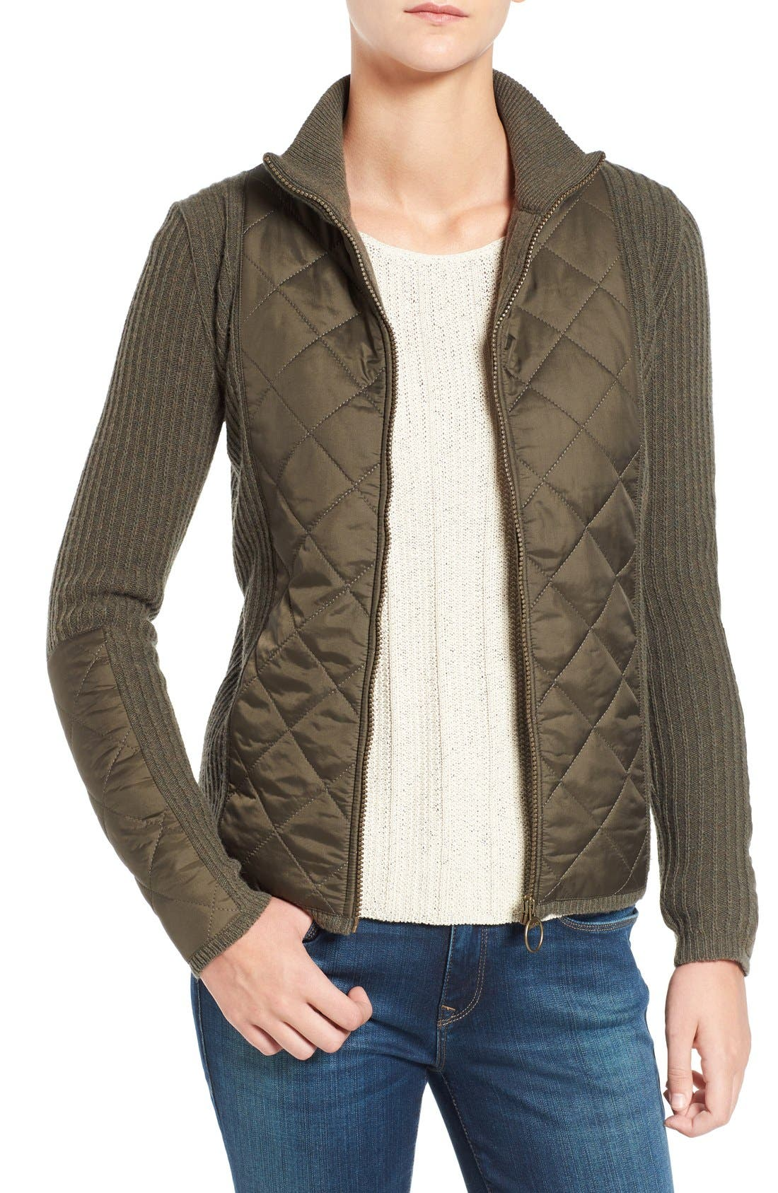 'Sporting' Zip Front Quilted Jacket,                         Main,                         color, Olive