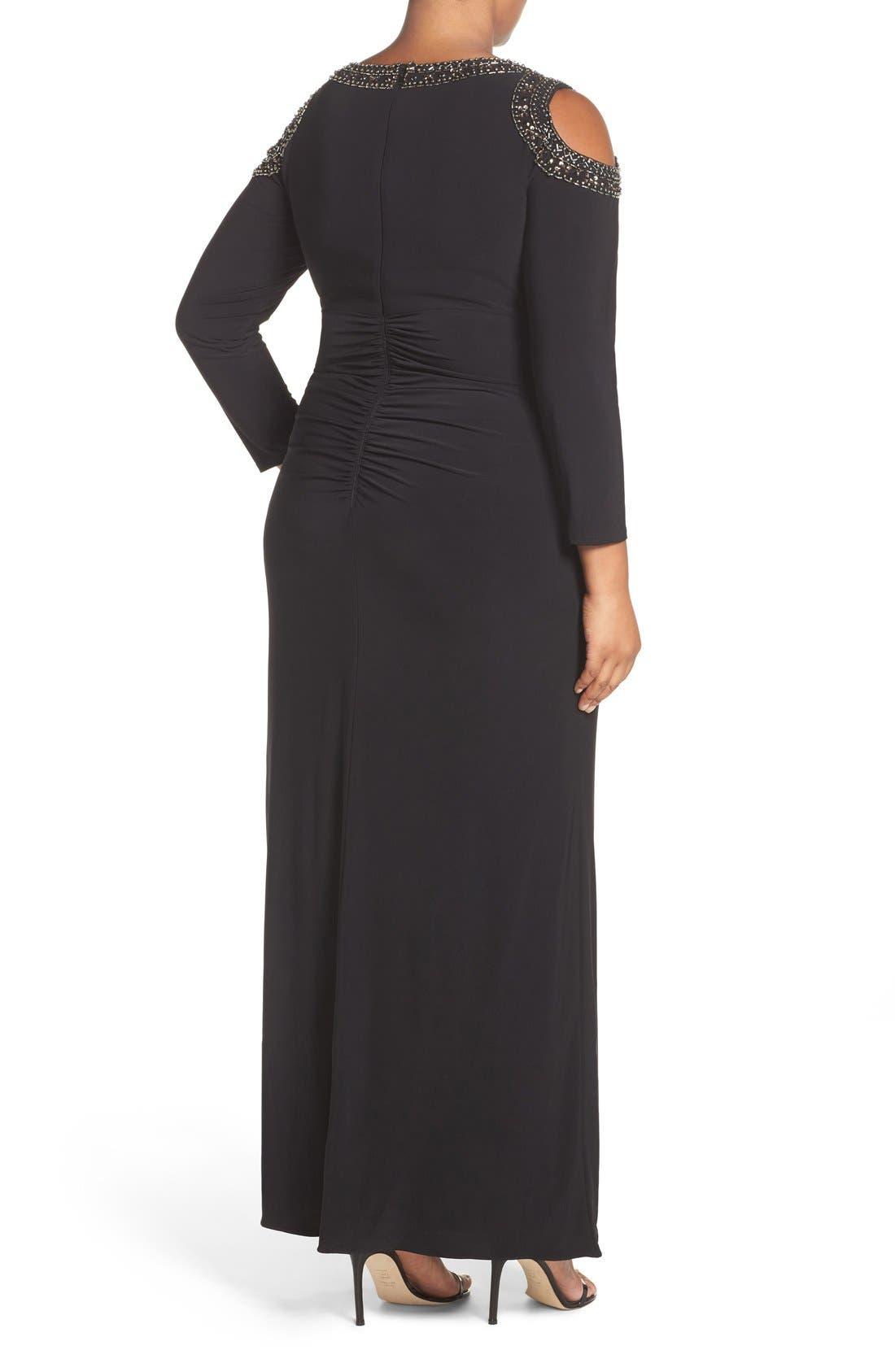 Embellished Cold Shoulder Shirred Jersey Gown,                             Alternate thumbnail 2, color,                             Black/ Gold