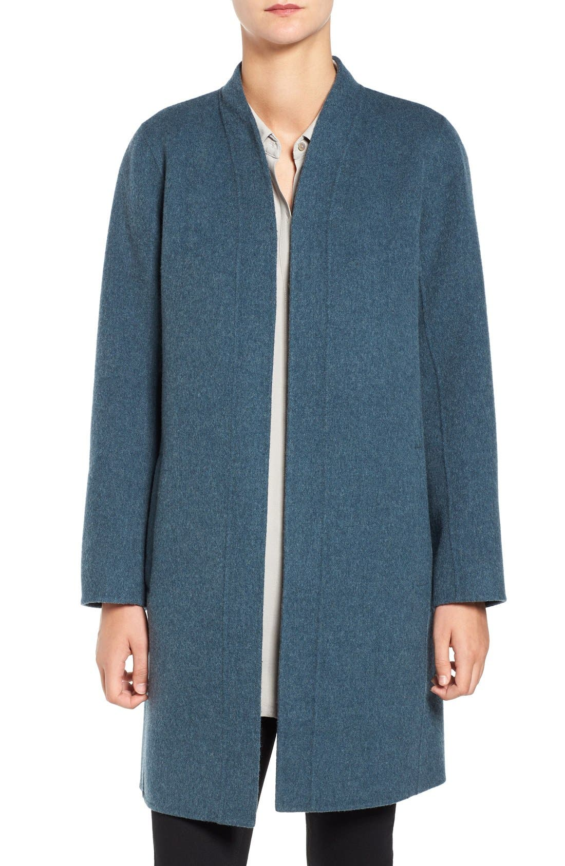 Double Face Brushed Wool Blend Kimono Jacket,                         Main,                         color, Fir