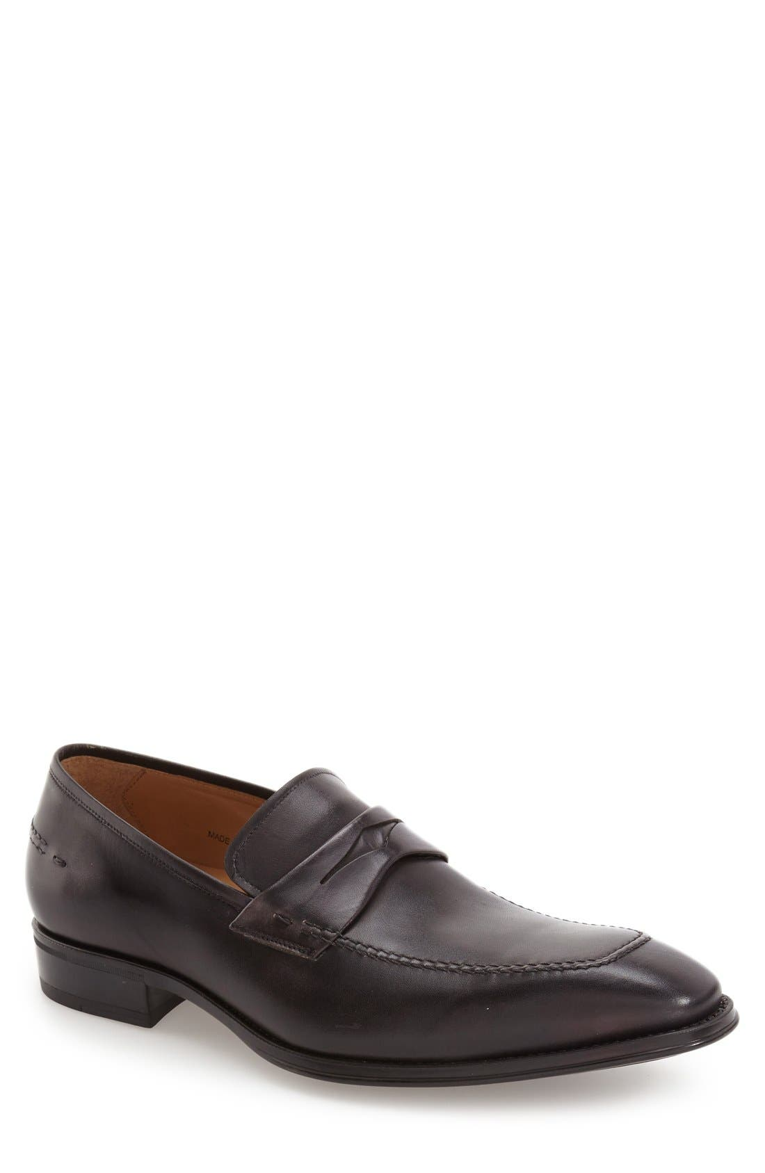 'Trento' Penny Loafer,                             Main thumbnail 1, color,                             Black