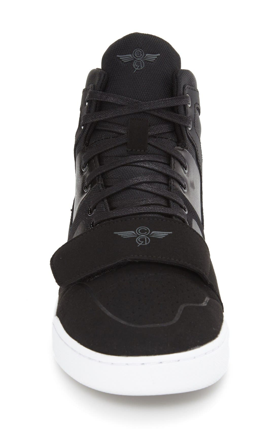 'Manzo' Sneaker,                             Alternate thumbnail 3, color,                             Black Leather