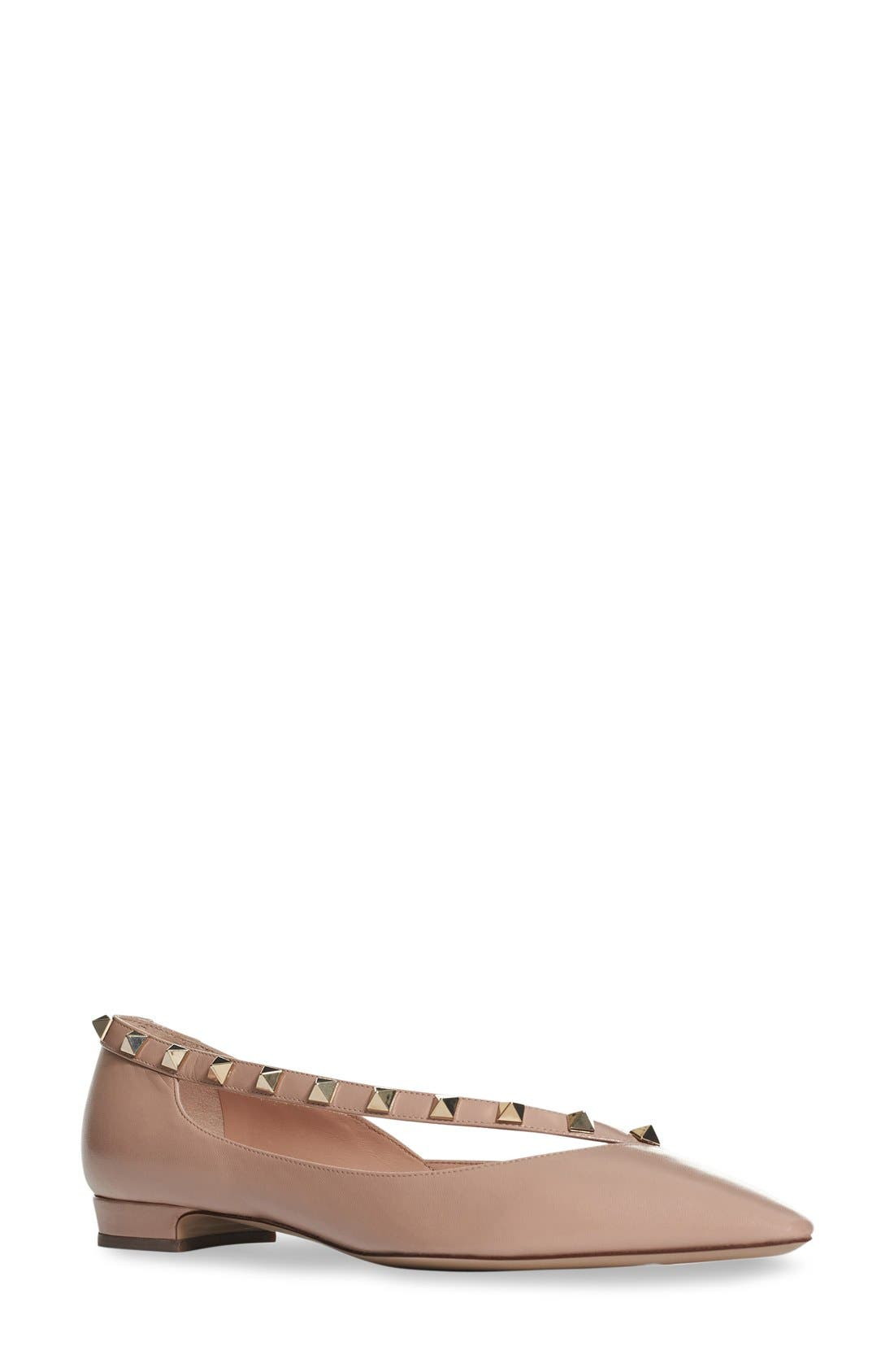 'Rockstud' Demi d'Orsay Flat,                             Main thumbnail 1, color,                             Nude Leather