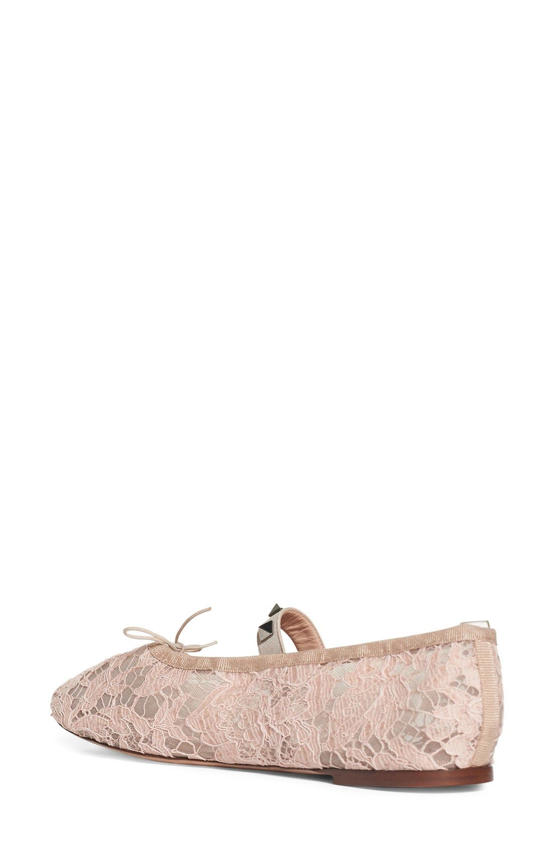 Alternate Image 3  - Valentino 'Rockstud' Lace Ballet Flat (Women)