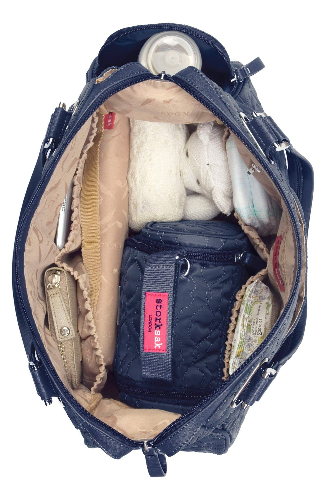 'Anna' Diaper Bag,                             Alternate thumbnail 4, color,                             Navy