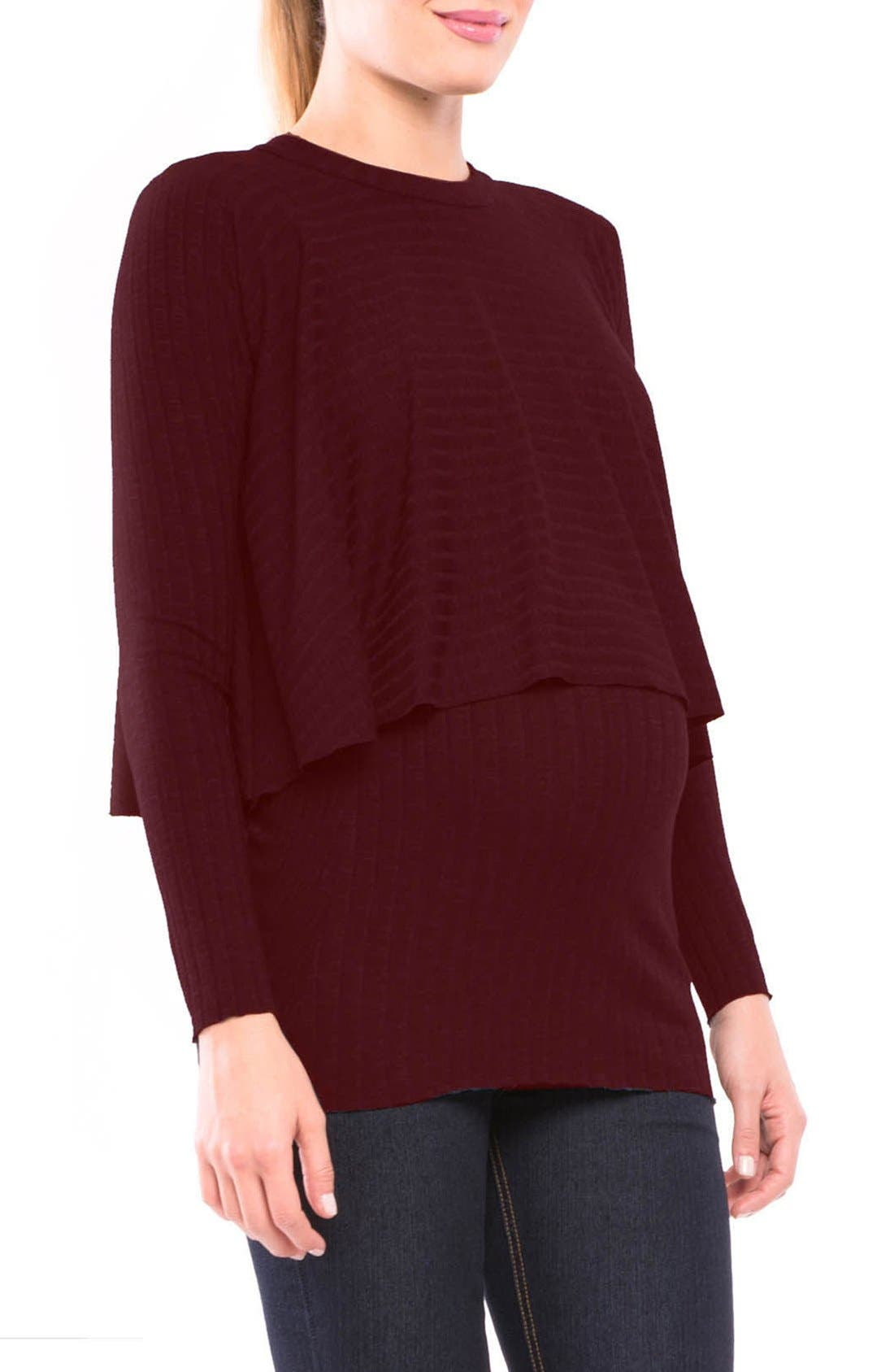 Alternate Image 1 Selected - Olian Kim Popver Maternity/Nursing Tunic Top