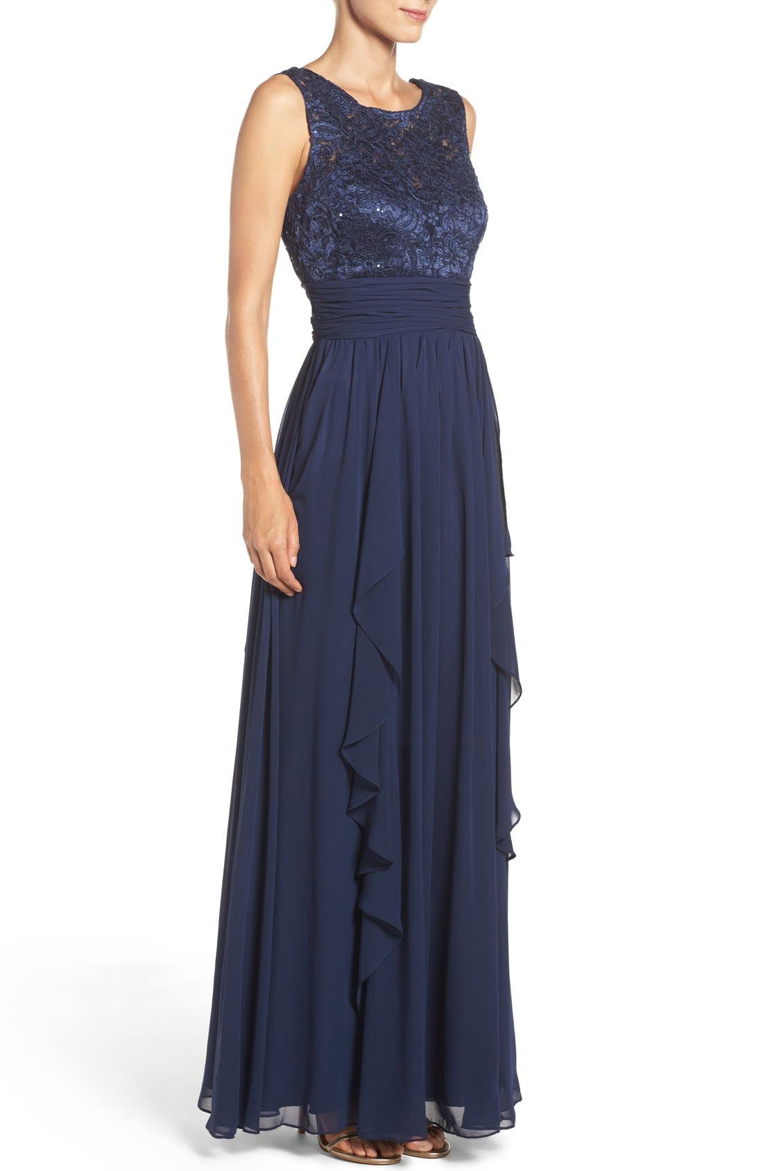 Lace & Chiffon Gown,                             Alternate thumbnail 3, color,                             Navy