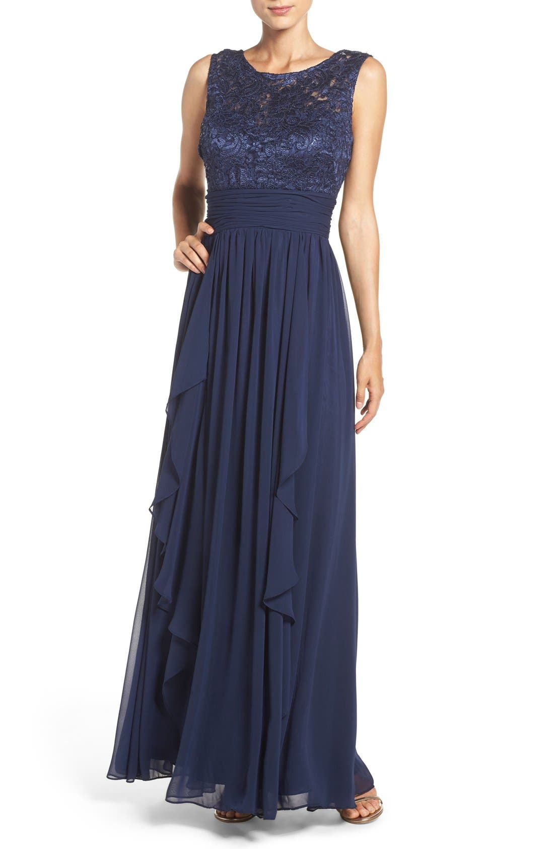 Lace & Chiffon Gown,                         Main,                         color, Navy