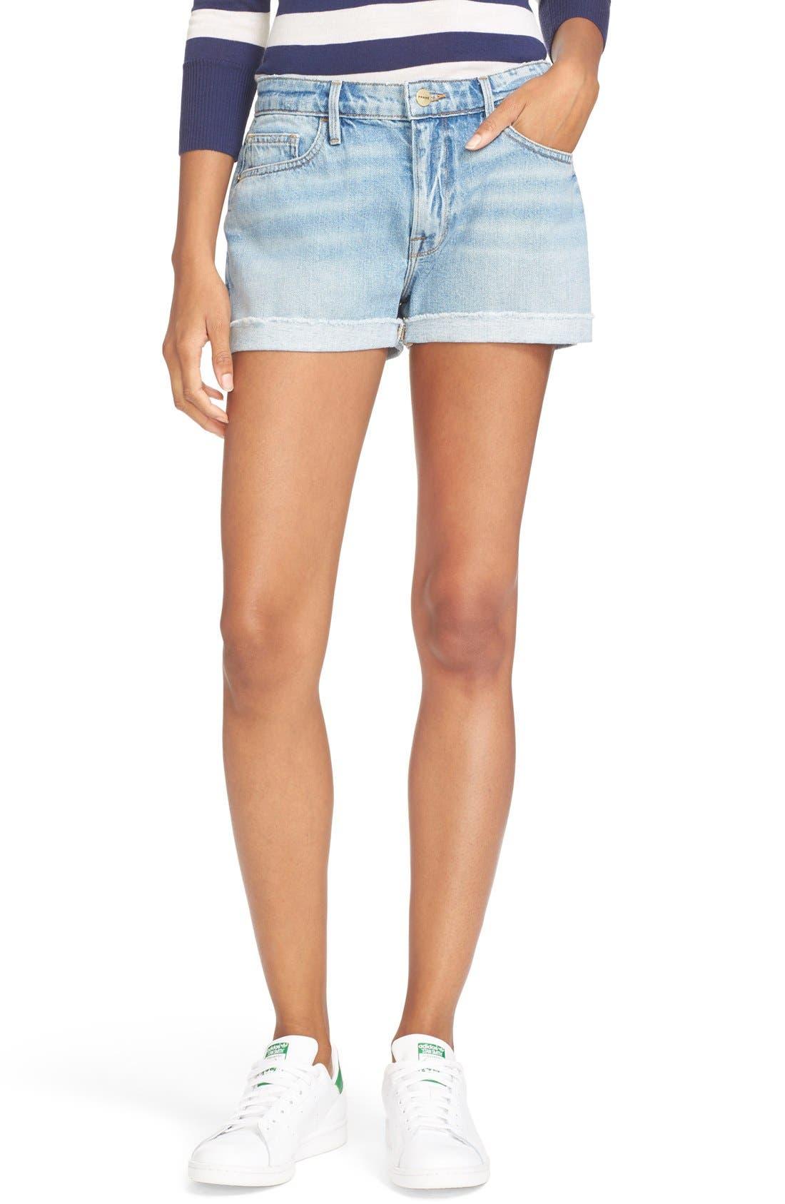 FRAME Cuffed Denim Boyfriend Shorts (Boulevard)