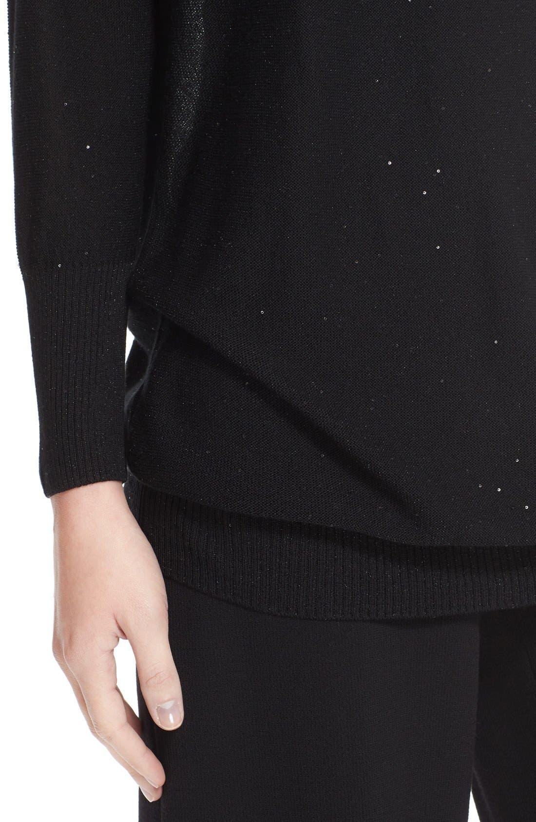 Sequin Knit Silk Blend Sweater,                             Alternate thumbnail 6, color,                             Black
