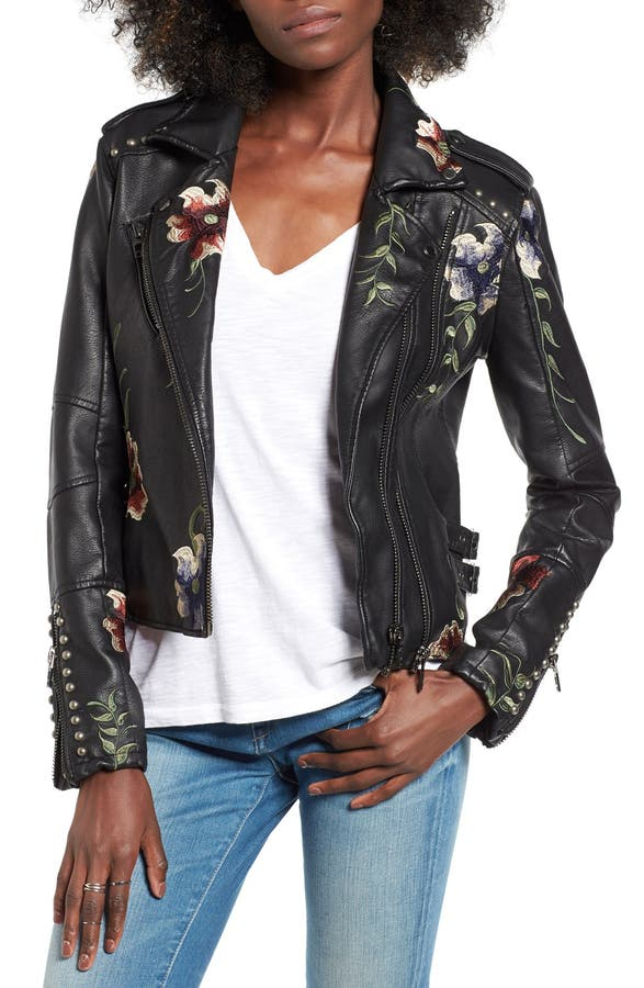 FOX CREEK LEATHER Embroidered Motorcycle Jacket