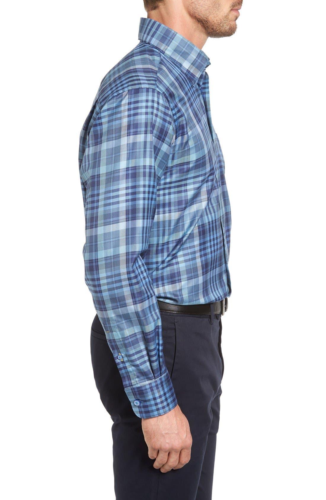 'Anderson' Classic Fit Plaid Sport Shirt,                             Alternate thumbnail 3, color,                             Maritime