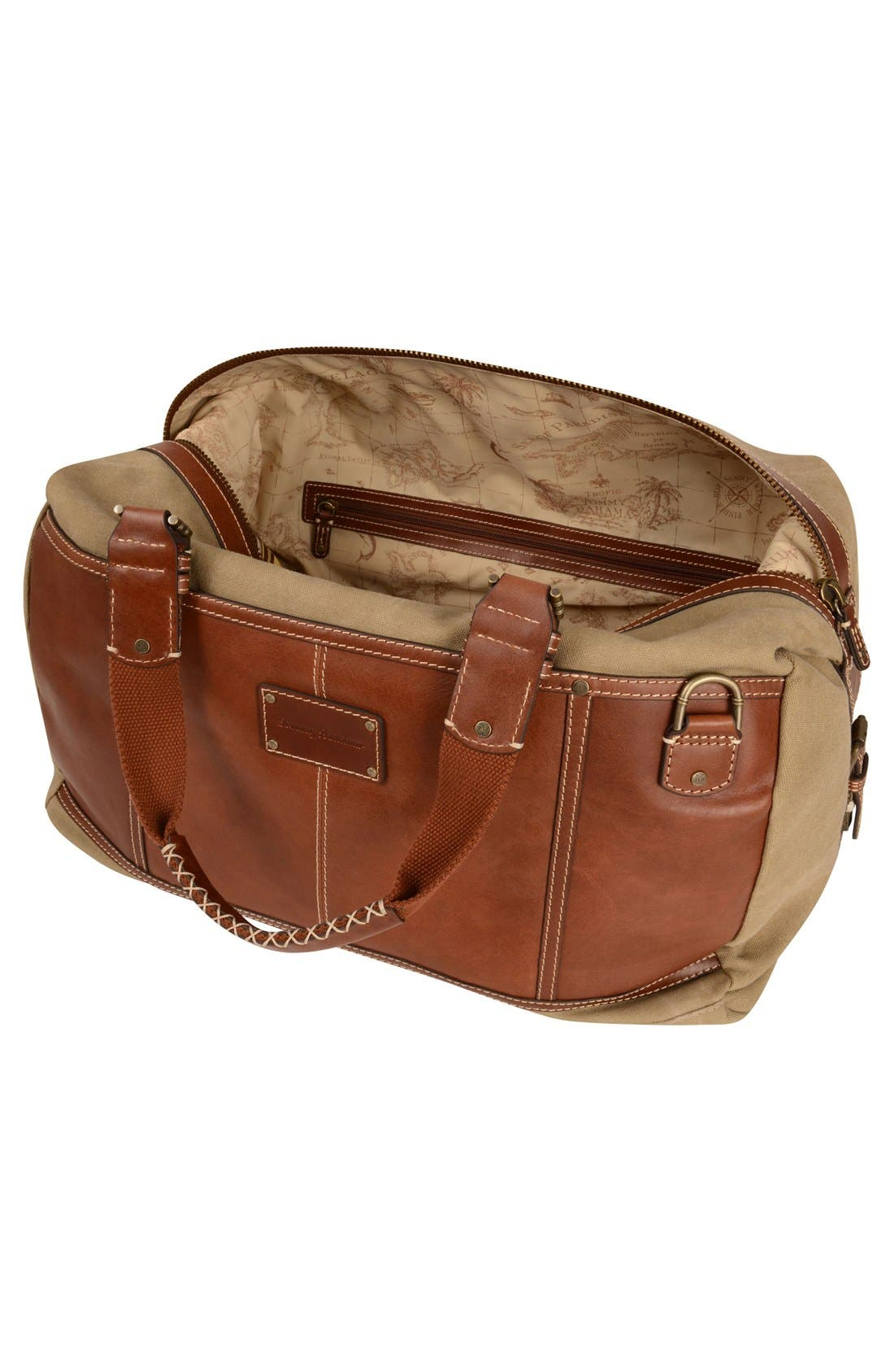 Alternate Image 3  - Tommy Bahama Canvas & Leather Duffel Bag