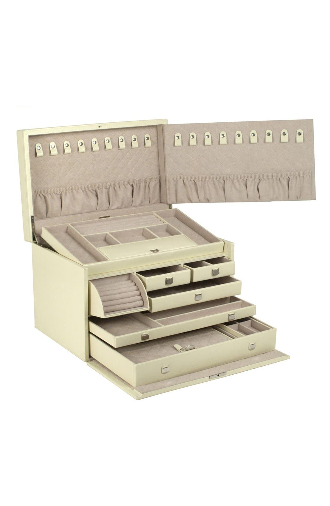 London Large Jewelry Box,                             Alternate thumbnail 3, color,                             Cream