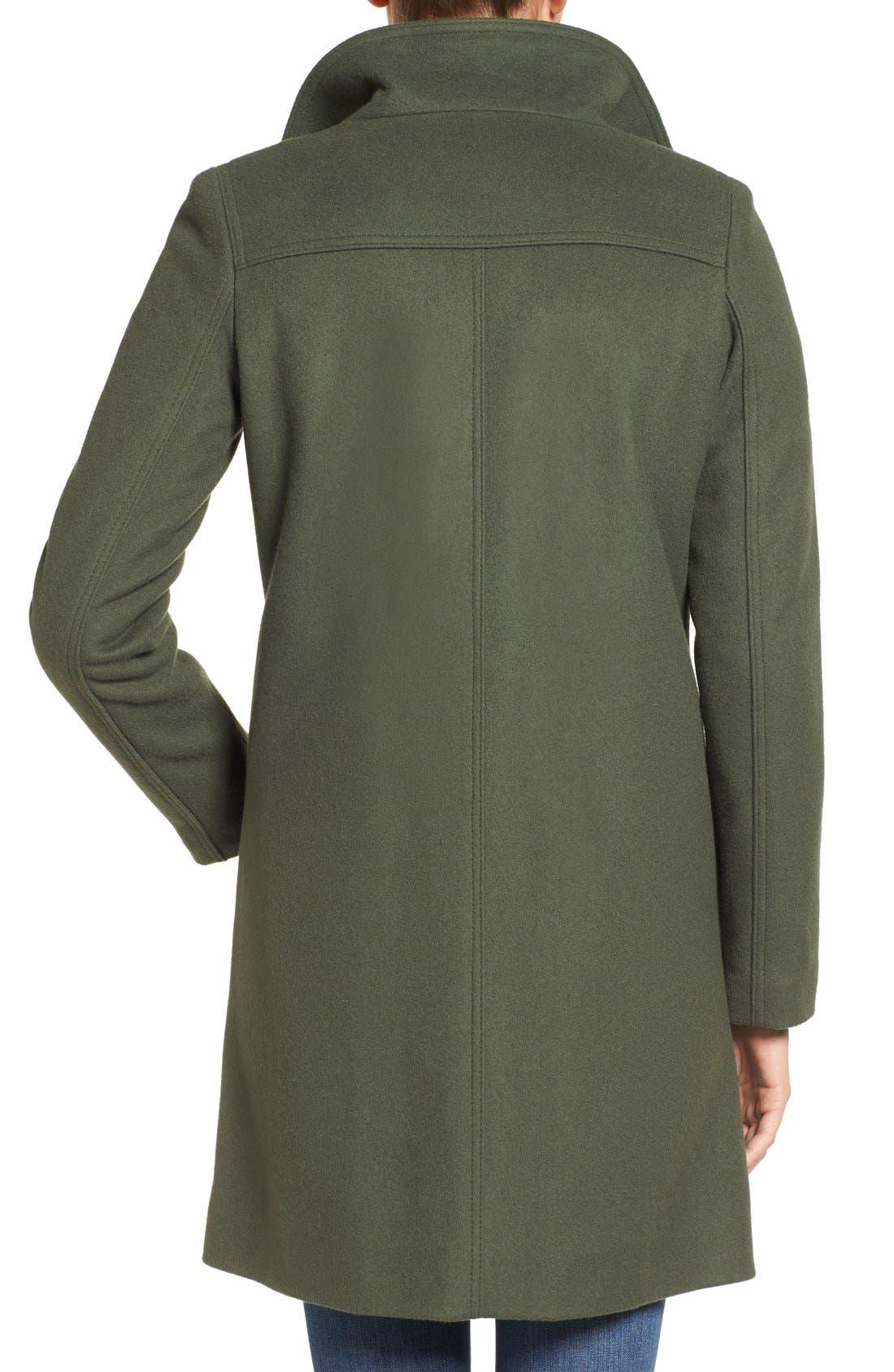 Funnel Neck Wool Blend Coat,                             Alternate thumbnail 3, color,                             Moss