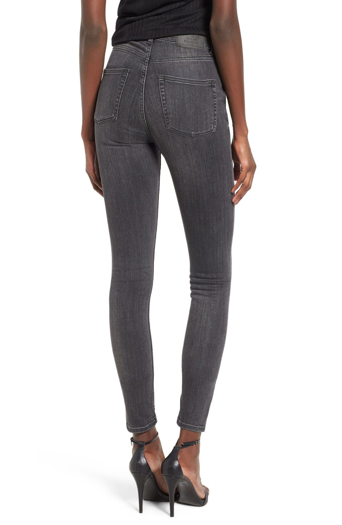 Alternate Image 2  - Cheap Monday Second Skin High Rise Skinny Jeans (Shadow)