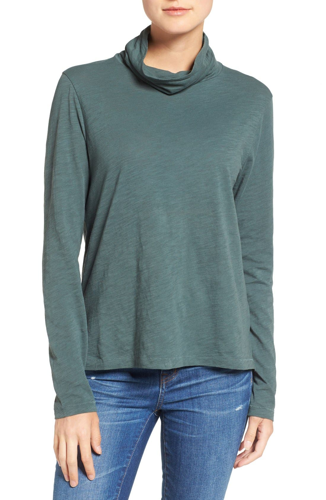 Main Image - Madewell Whisper Cotton Turtleneck Top
