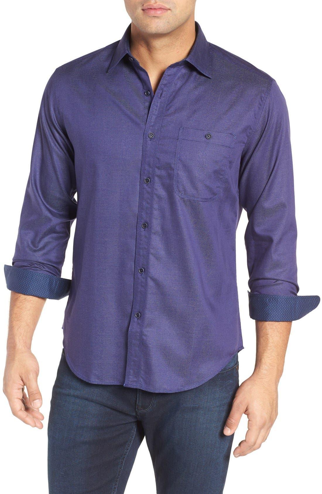 Shaped Fit Stripe Jacquard Sport Shirt,                             Main thumbnail 1, color,                             Night Blue