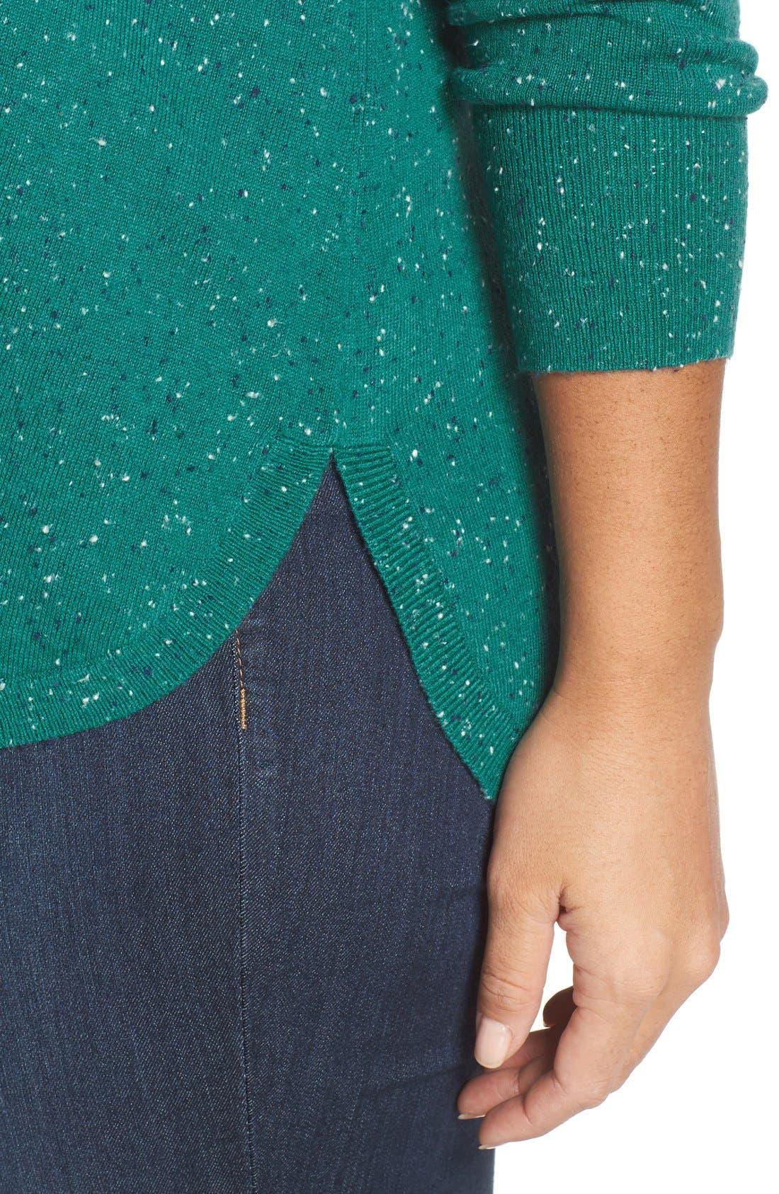 Alternate Image 4  - Caslon® Marled V-Neck Sweater (Plus Size)