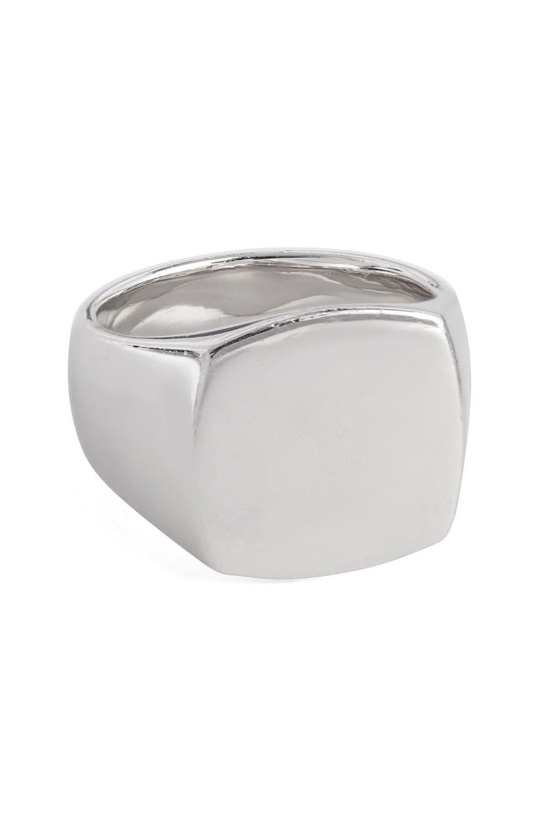 Polished Cushion Ring,                         Main,                         color, Silver