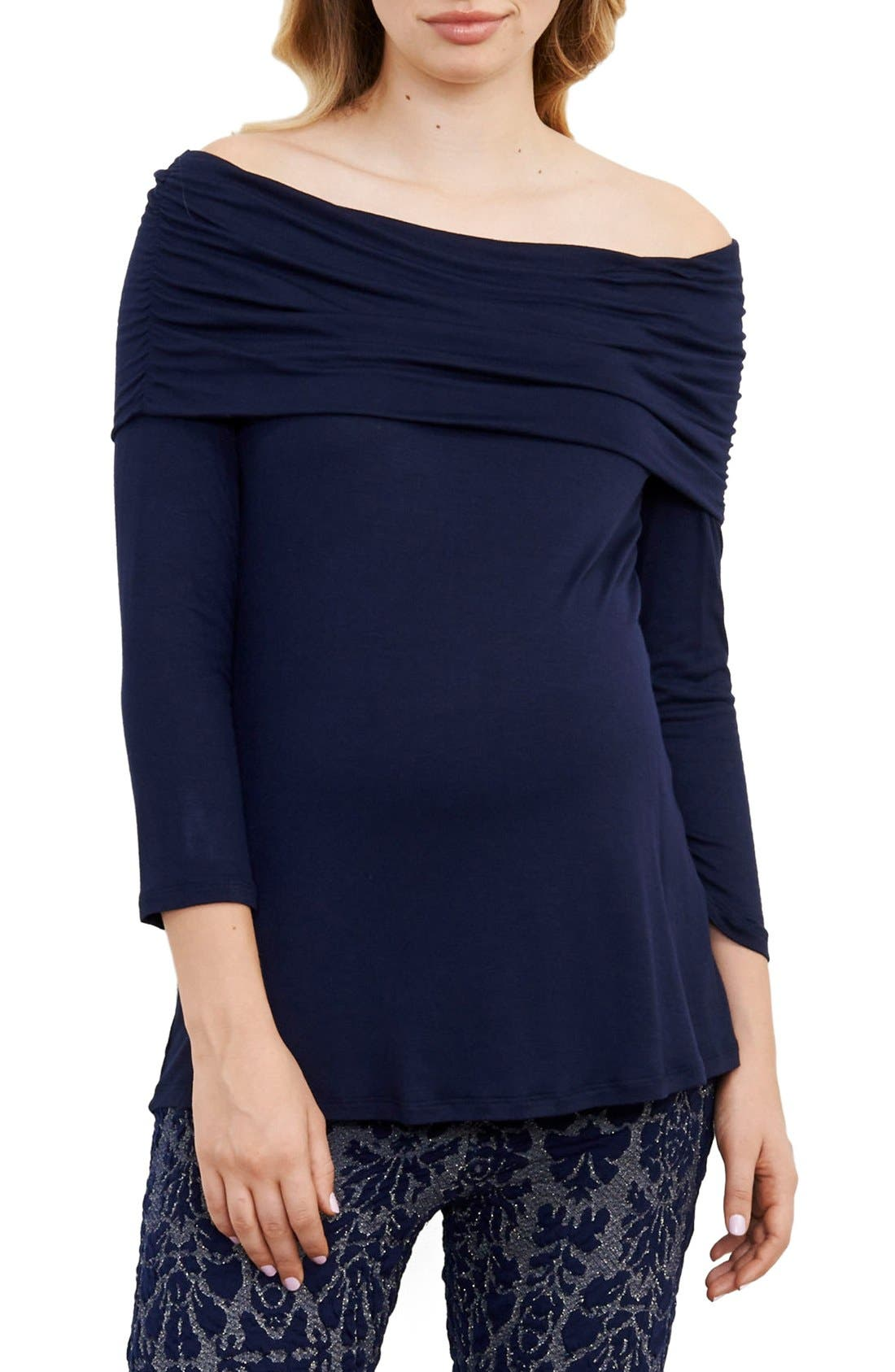 Off the Shoulder Maternity Top,                         Main,                         color, Navy