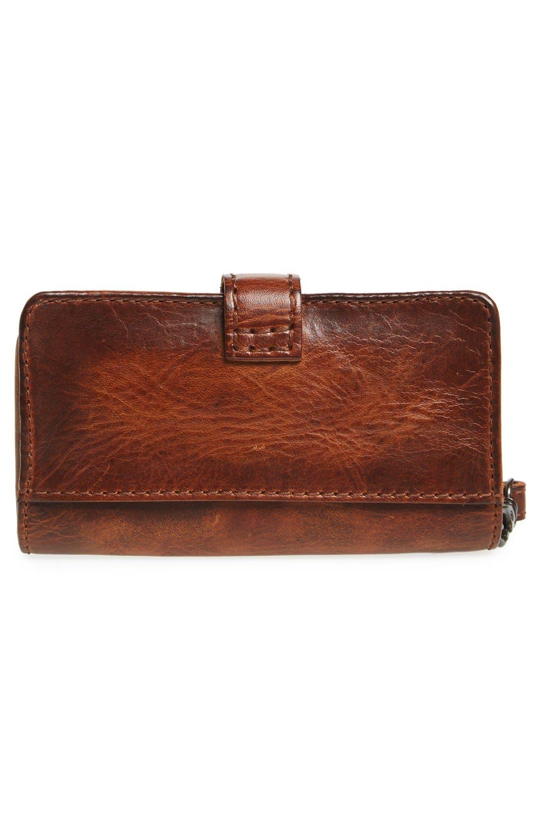 'Melissa' Leather Phone Wallet,                             Alternate thumbnail 3, color,                             Cognac