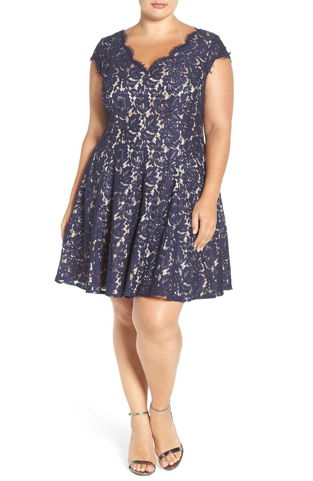 Alternate Image 4  - Eliza J Lace Fit & Flare Dress (Plus Size)