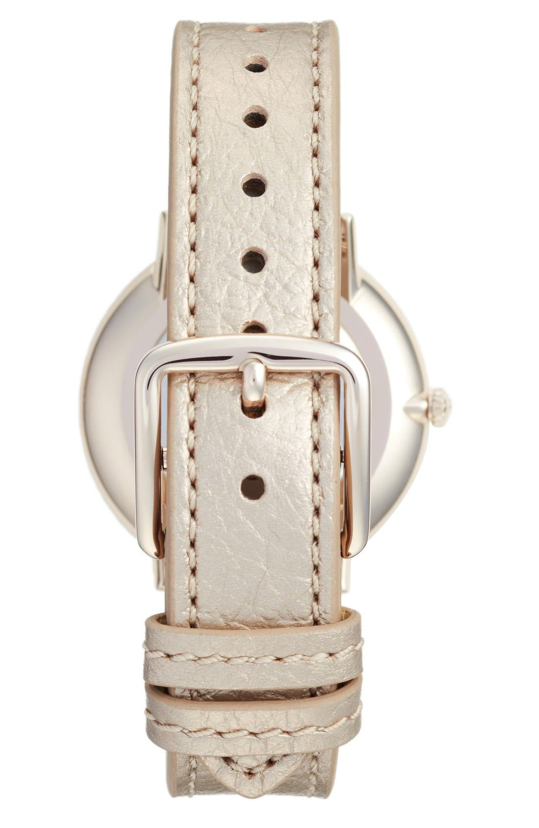 'Slim Easton' Leather Strap Watch, 35mm,                             Alternate thumbnail 2, color,                             Champagne/ Silver White