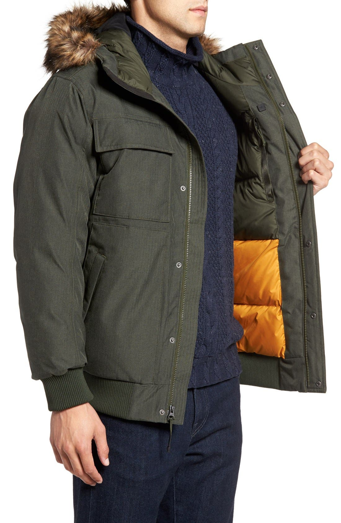 'Gotham II' Hooded Goose Down Jacket with Faux Fur Trim,                             Alternate thumbnail 3, color,                             Climbing Ivy Green Heather