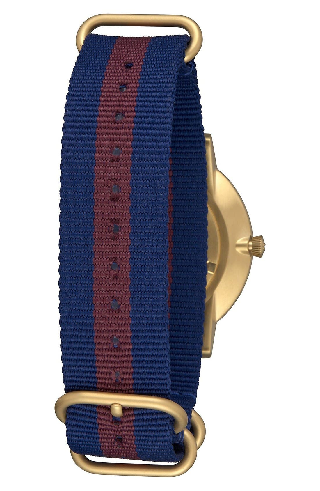 The Porter Nylon Strap Watch, 40mm,                             Alternate thumbnail 2, color,                             Red/ White/ Blue/ Gold