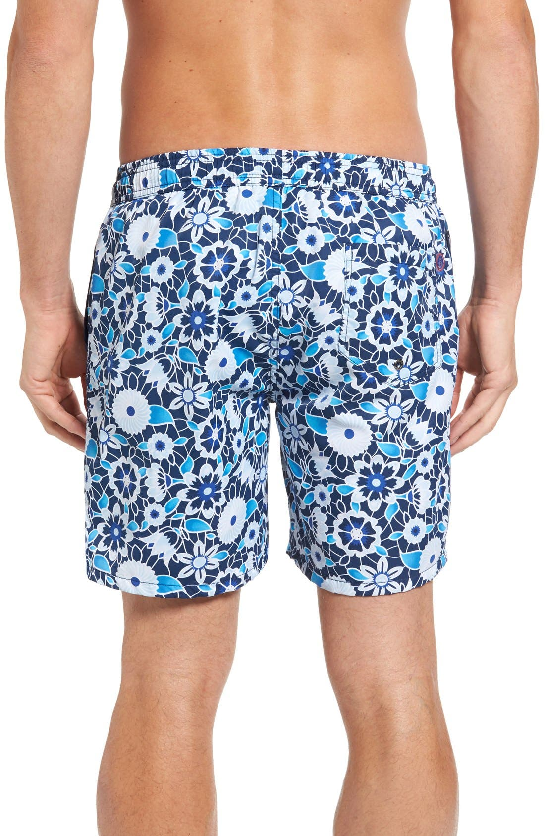 Floral Print Swim Trunks,                             Alternate thumbnail 2, color,                             Blue