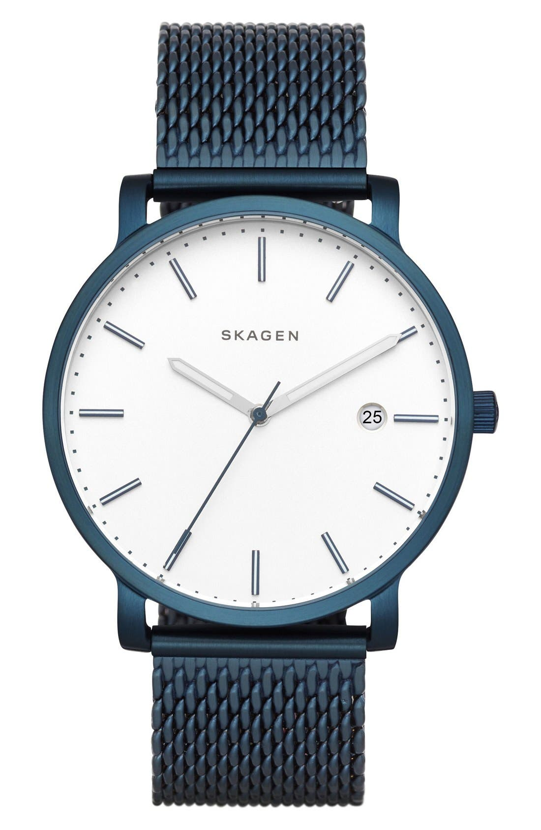 SKAGEN Hagen Round Mesh Strap Watch, 40mm
