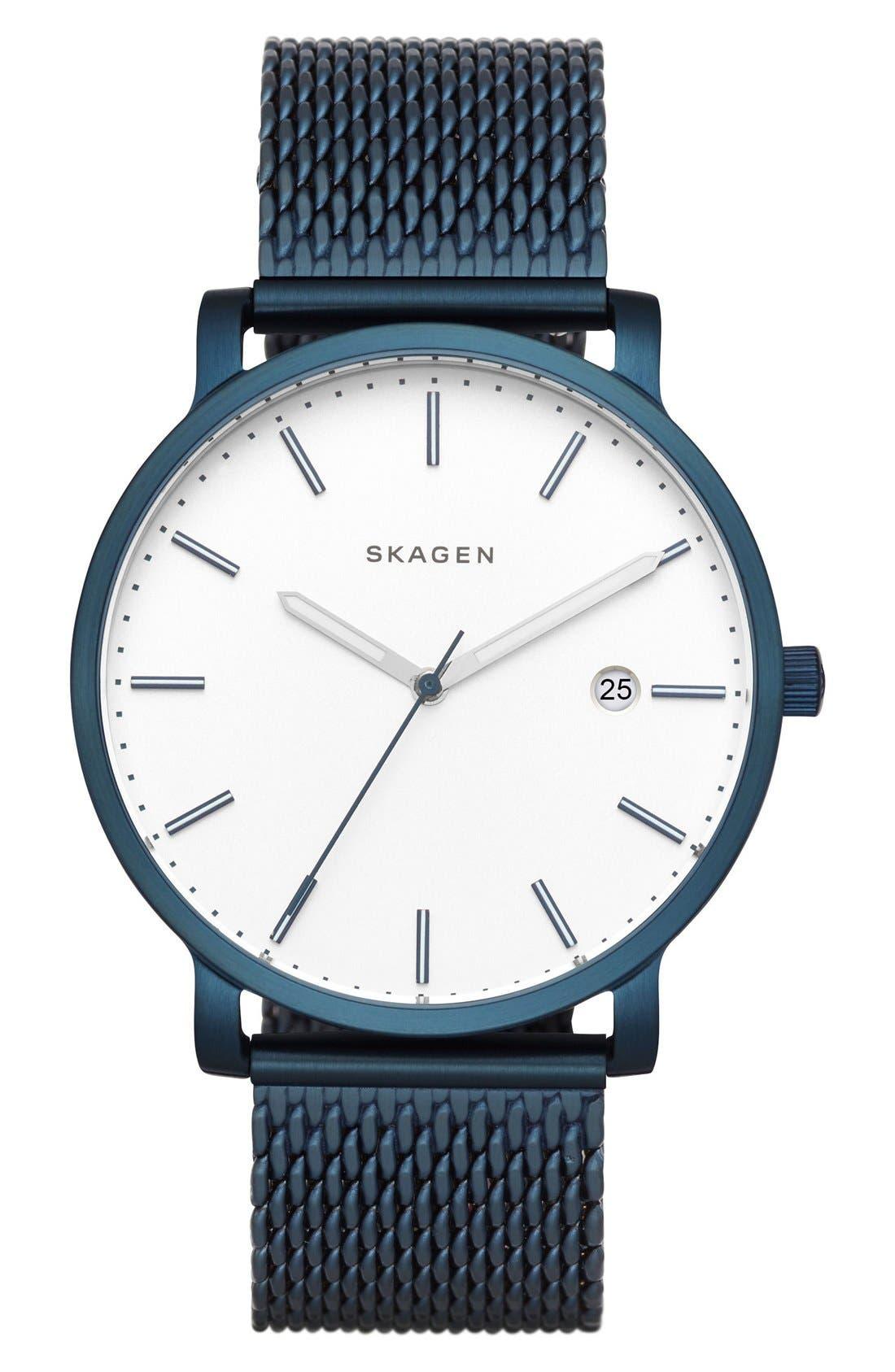 Hagen Round Mesh Strap Watch, 40mm,                             Main thumbnail 1, color,                             Blue/ White