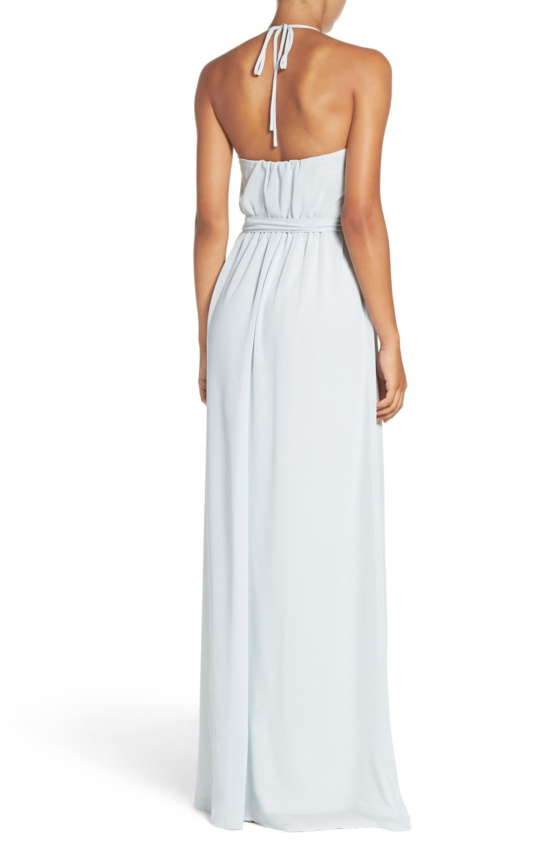 'Dani' Ruffle Neck V-Neck Halter Gown,                             Alternate thumbnail 2, color,                             Cloud