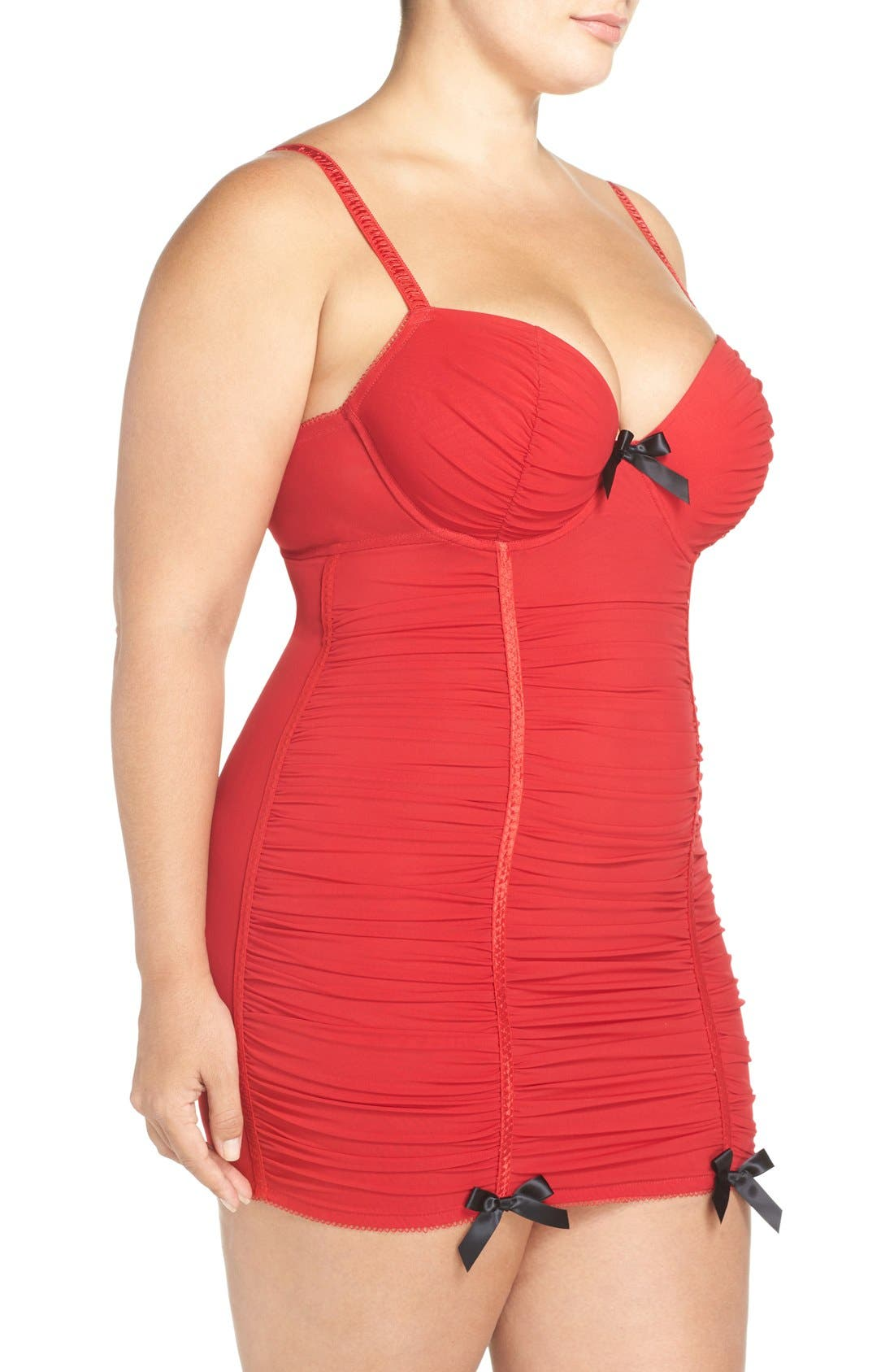 Alternate Image 3  - Black Bow 'Show Off' Ruched Underwire Chemise (Plus Size)