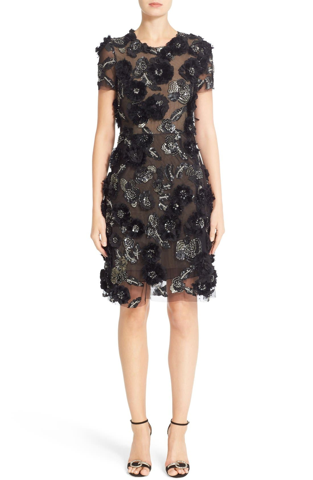 Main Image - Marchesa Cap Sleeve Tulle Dress with 3D Floral Embellishments