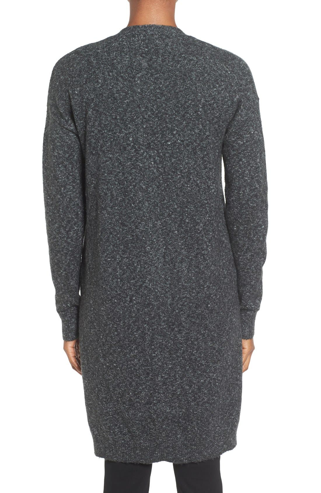 Long Knit Cardigan,                             Alternate thumbnail 2, color,                             Charcoal Marl