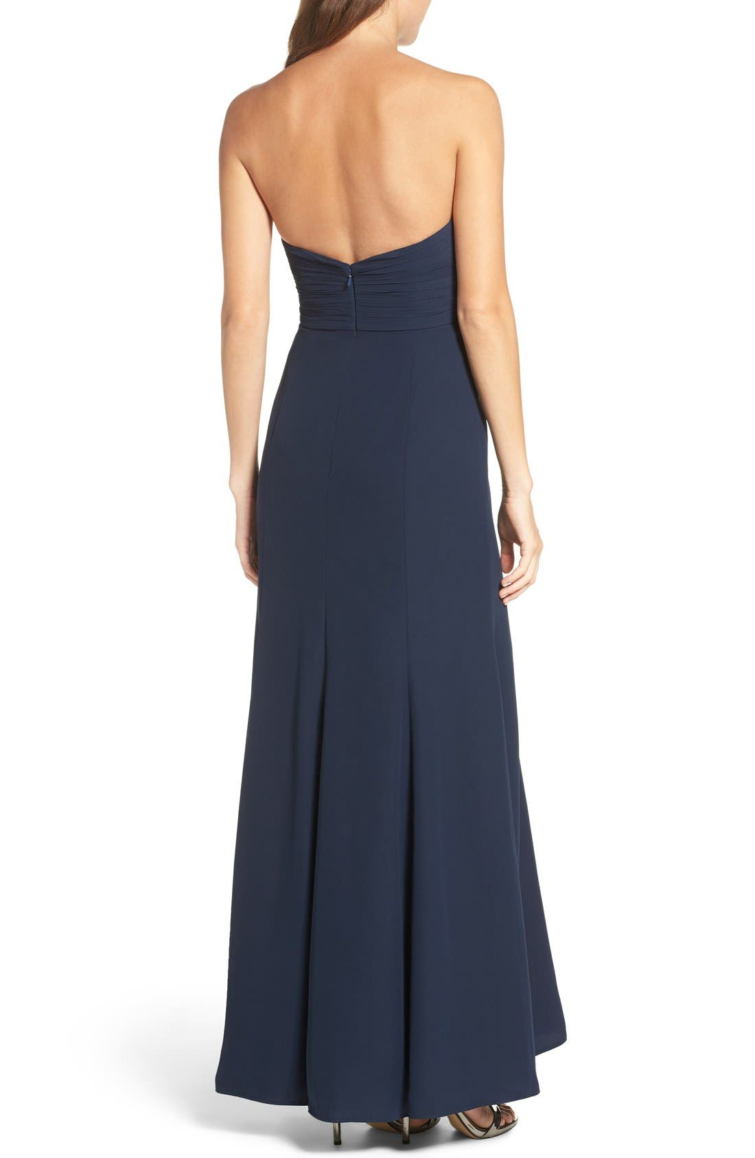 Strapless Chiffon Gown,                             Alternate thumbnail 2, color,                             Navy